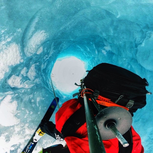 Andrew mounted his GoPro way up on an extended pole to capture his rappell into a conical ice cave in Alaska.