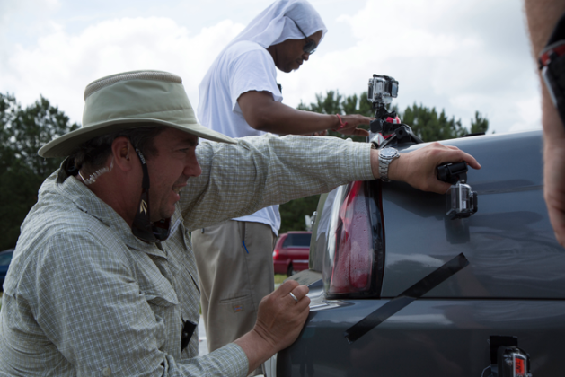 Shane Hurlbut, ASC Cinematographer on Need for Speed, mounts GoPro cameras on set