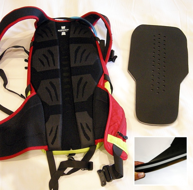 Six pads on the mesh-lined pack separate the Kudu 12 from your back, and form channels for ventilation. The tri-layer protection element is inserted into a dedicated pouch directly behind the six pads.