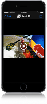 Don't wait until you're back home to see your content. Use the GoPro App to view photos and play back videos captured with your camera.2 Check out your last run—on the chairlift. See your best wave once you're back on the beach. Plus, you can browse and delete content on your camera's memory card, freeing up space for more great footage.